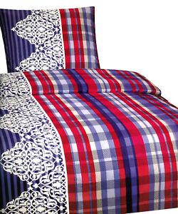 4 tlg winter fleece flausch bettw sche thermofleece 135x200 cm blau rot ebay. Black Bedroom Furniture Sets. Home Design Ideas