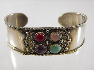Vintage-Mexico-Sterling-Silver-Cuff-Bracelet-Multi-Gemstone-Bangle-925-Red-Blue