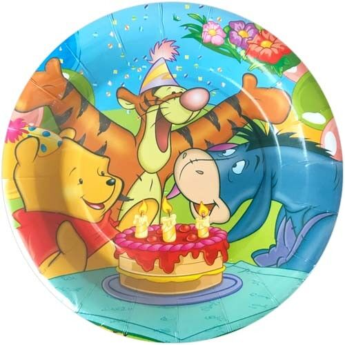 ~ Party Supplies Dinner WINNIE THE POOH Birthday Cake LARGE PAPER PLATES 8