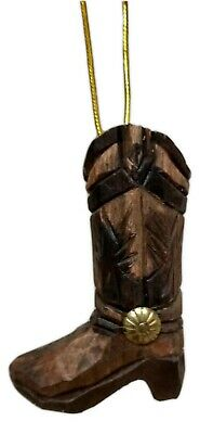 Carved Wood COWBOY BOOT Christmas Ornament, by Wilcor | eBay