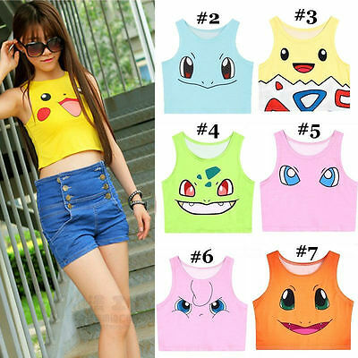 Kawaii Clothing Cute Harajuku T-Shirt Ropa Pokemon Go Crop Top Pikachu Bulbasur