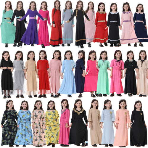 Muslimische Kinder Mädchen Maxikleid Abaya Burka Longtop Robe Kaftan Partykleid