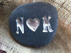 Personalised Handmade Gift carved stone Anniversary Wedding Beach Cornwall