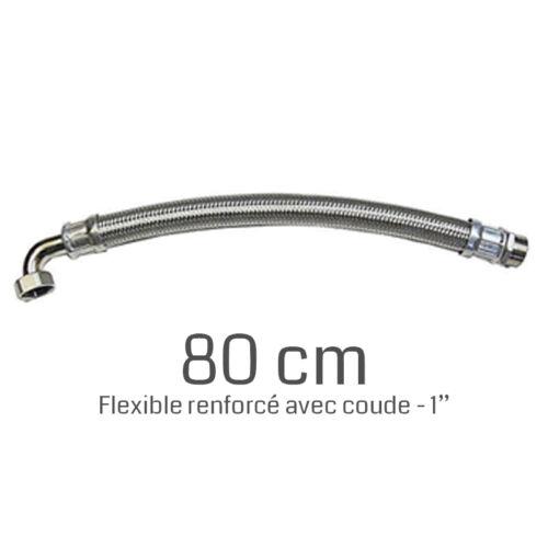 """Flexible renforcé 1/"""" 80 cm avec coude de raccordement pour pompes"""