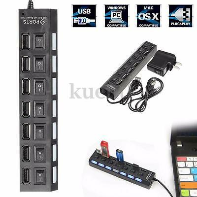 7 Port USB 2.0 HUB High Speed + Power Adapter W/ Switch FOR Macbook PC Laptop
