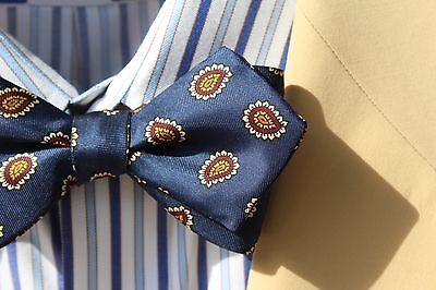 Bow Tie Club Navy Blue, Maroon & White Diamond-Point Self-Tie Silk Bow Tie - USA