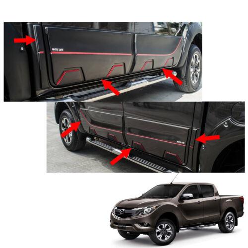 Side Molding Body Cladding Matte Black Red 6Pc Fit Mazda Bt50 Pro Pickup 12-17