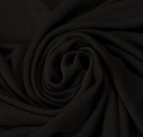 Rayon Elastane Black Stretch Quality Fabric  Clothing Plain Upholstery Fashion