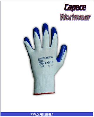 12 Paia Guanto Nitrile Nylon Sheltech Bianco/royal Flessibile Leggero Da Lavoro Materiali Accuratamente Selezionati