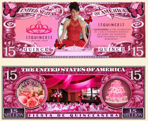FREE SLEEVE Quinceanera ~ 15 Million Dollar Bill Fake Funny Money Novelty Note