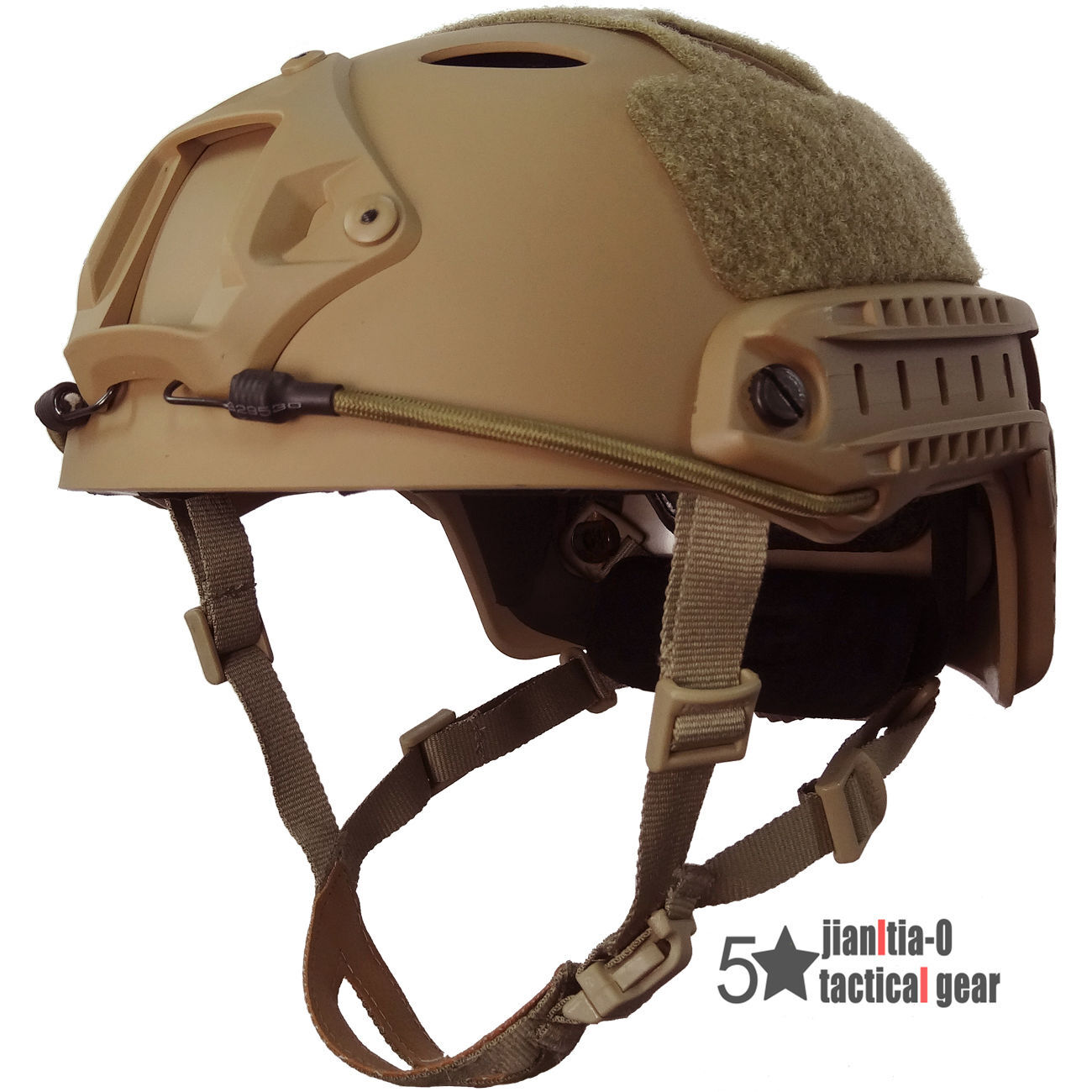 PJ Type Airsoft Jump Helmet Adjustable Tactical Predective Side Rail Shroud Tan