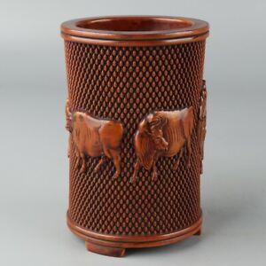 Chinese Exquisite Handmade Boxwood Brush Pot