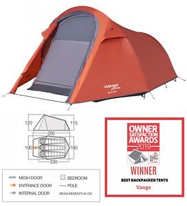 Vango Soul 300 3 man berth person camping compact hiking tunnel tent 2019 Orange