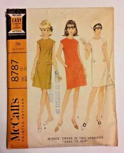 McCall-039-s-Shift-Dress-Vintage-Sewing-Pattern-New-Uncut-Size-12-8787