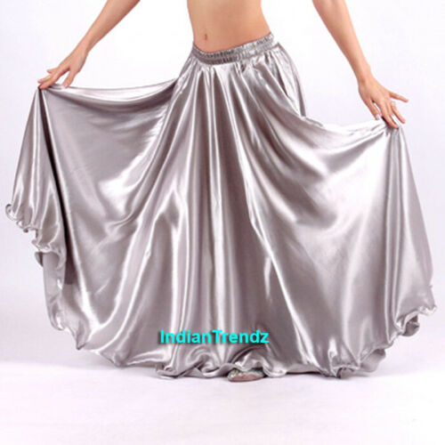 360 Full Circle Satin Skirt Long Swing Belly Dance Costumes Tribal Details about  /Silver