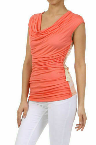 Details about  /S M L Shirt Top Coral Solid Front Lace Back Ruched Dual Tone Stretch New