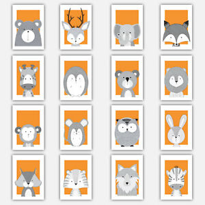 Art-Print-FOREST-ANIMAL-SKETCH-Picture-Poster-ORANGE-amp-GREY-Baby-Nursery-Wall
