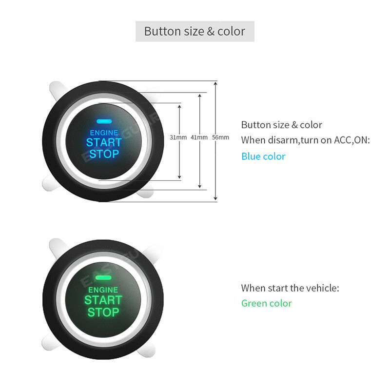 EASYGUARD ES002 Universal Push Engine Start Button with Remote Engine Start for Automatic Transmission car Optional Compatible with car Alarm System DC12V