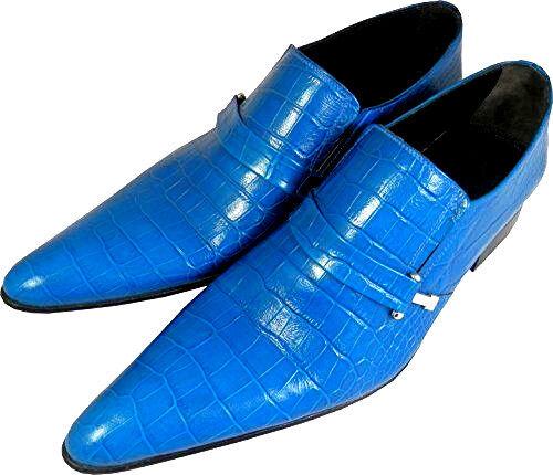 ORIGINAL CHELSY BLAUE DESIGNER Blau KROKO HANDARBEIT LEDER SCHUH DESIGNER BLAUE LEDERSLIPPER 40 04c44d