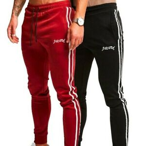 Basic Mens Casual Pants Strip Sport Sweatpants Running Joggers Black Trousers