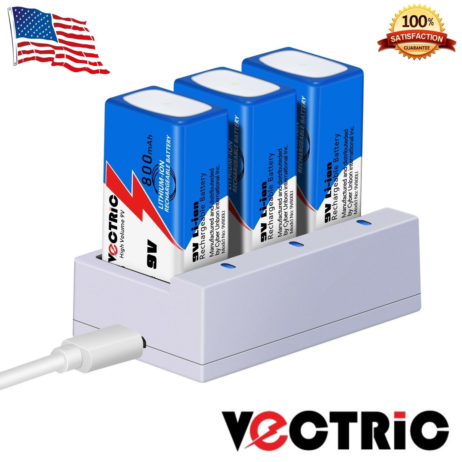 9V Rechargeable Li-ion Battery 800mAh VECTRIC 3 Pack with Smart Charger