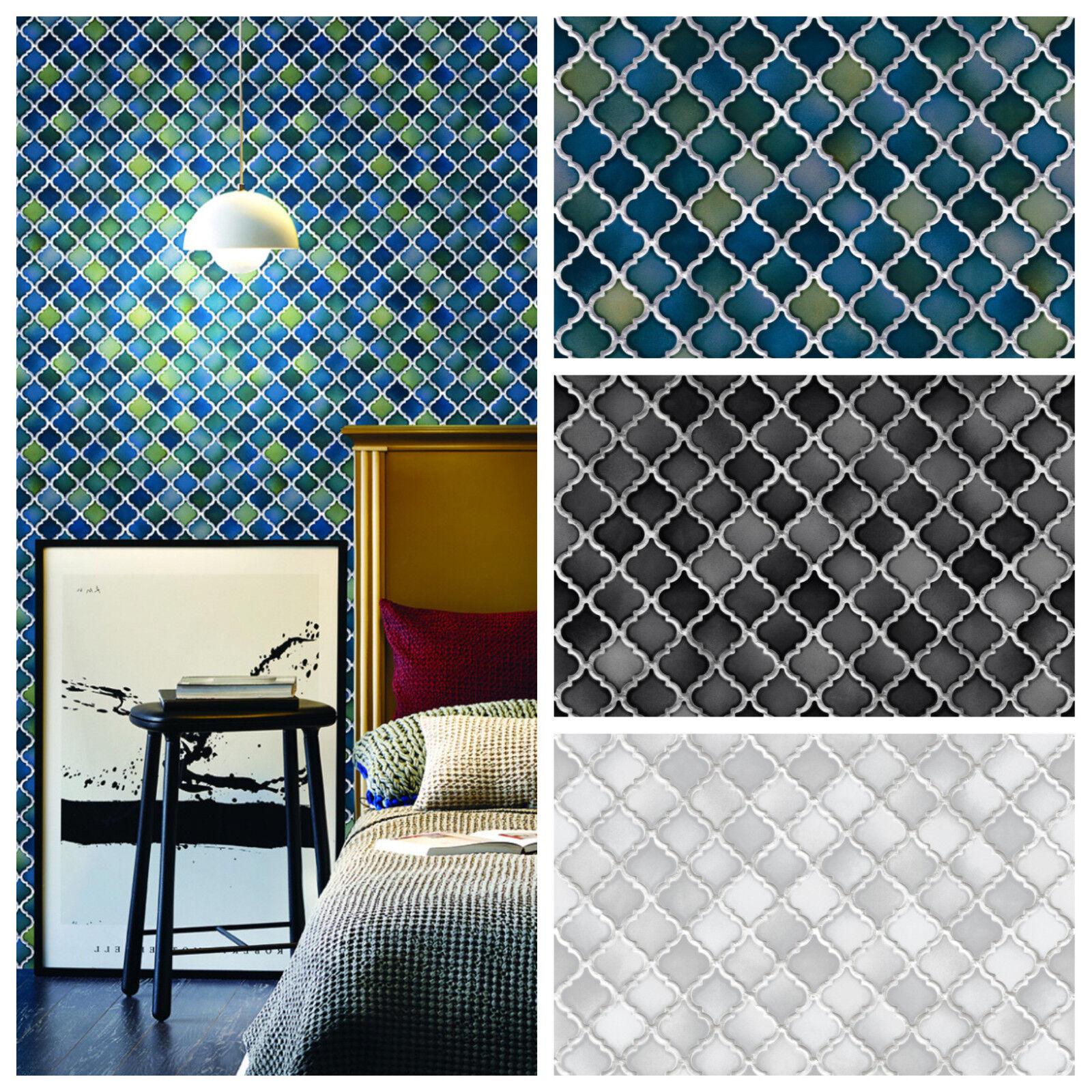 Vlies Tapete Stein Keramik Mosaik Fliesen Florentiner Optik Petrol Schwarz  Grau