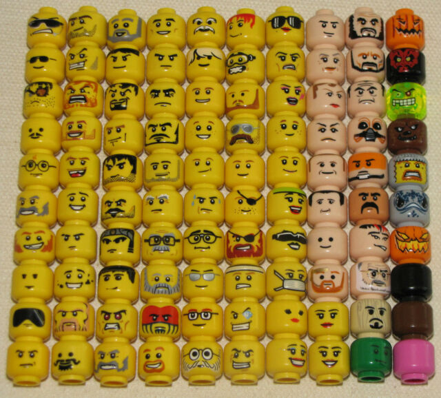 LEGO SINGLE MINIFIGURE HEADS FLESH FACES STAR WARS NINJAGO TOWN CASTLE SPACE