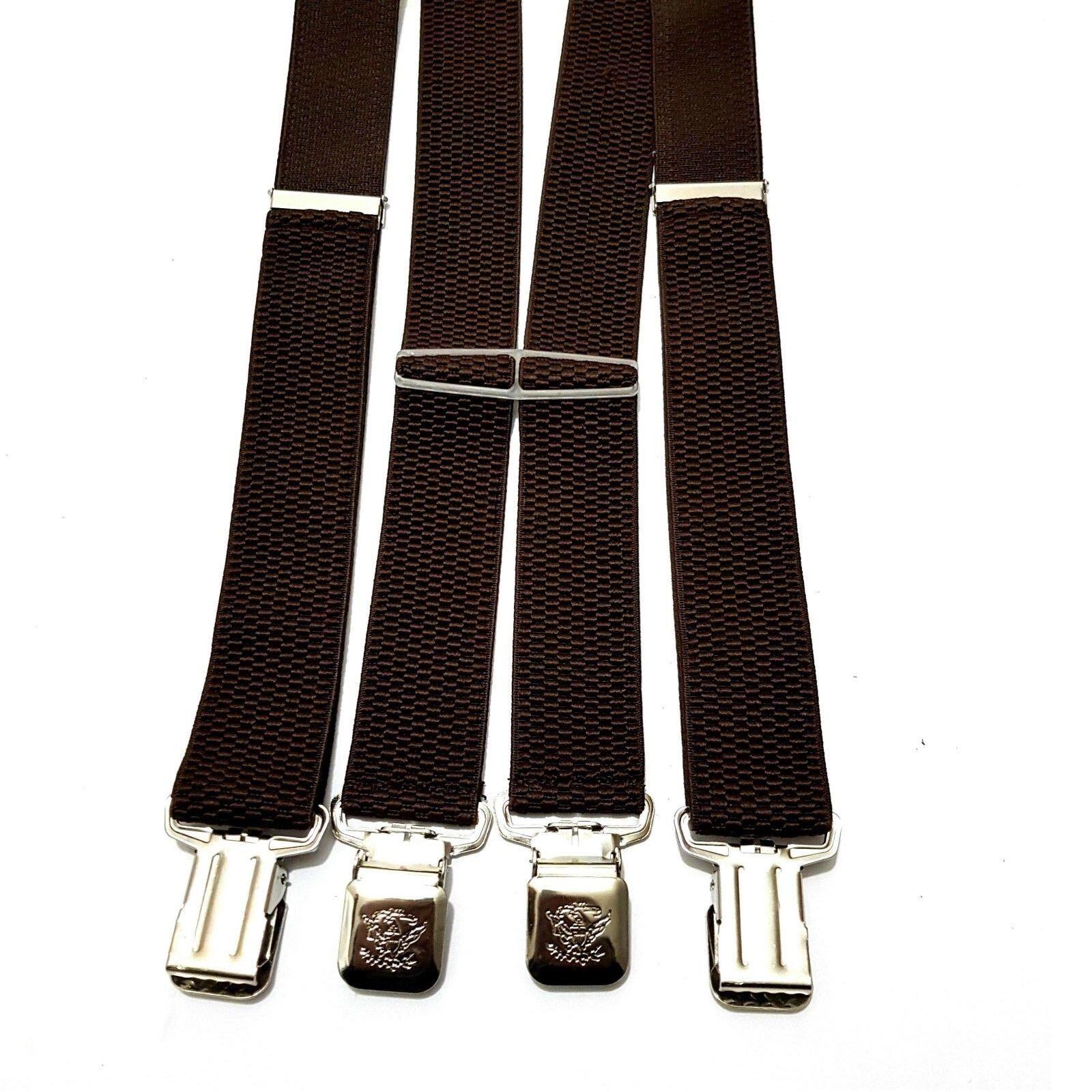Damen Herren Hosenträger Hose Gürtel Braun 4 starke Clips Träger H-Form breit