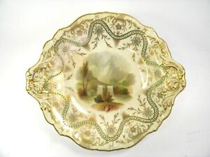 Antique-19th-century-porcelain-comport-dish-hand-painted-river-landscape-7