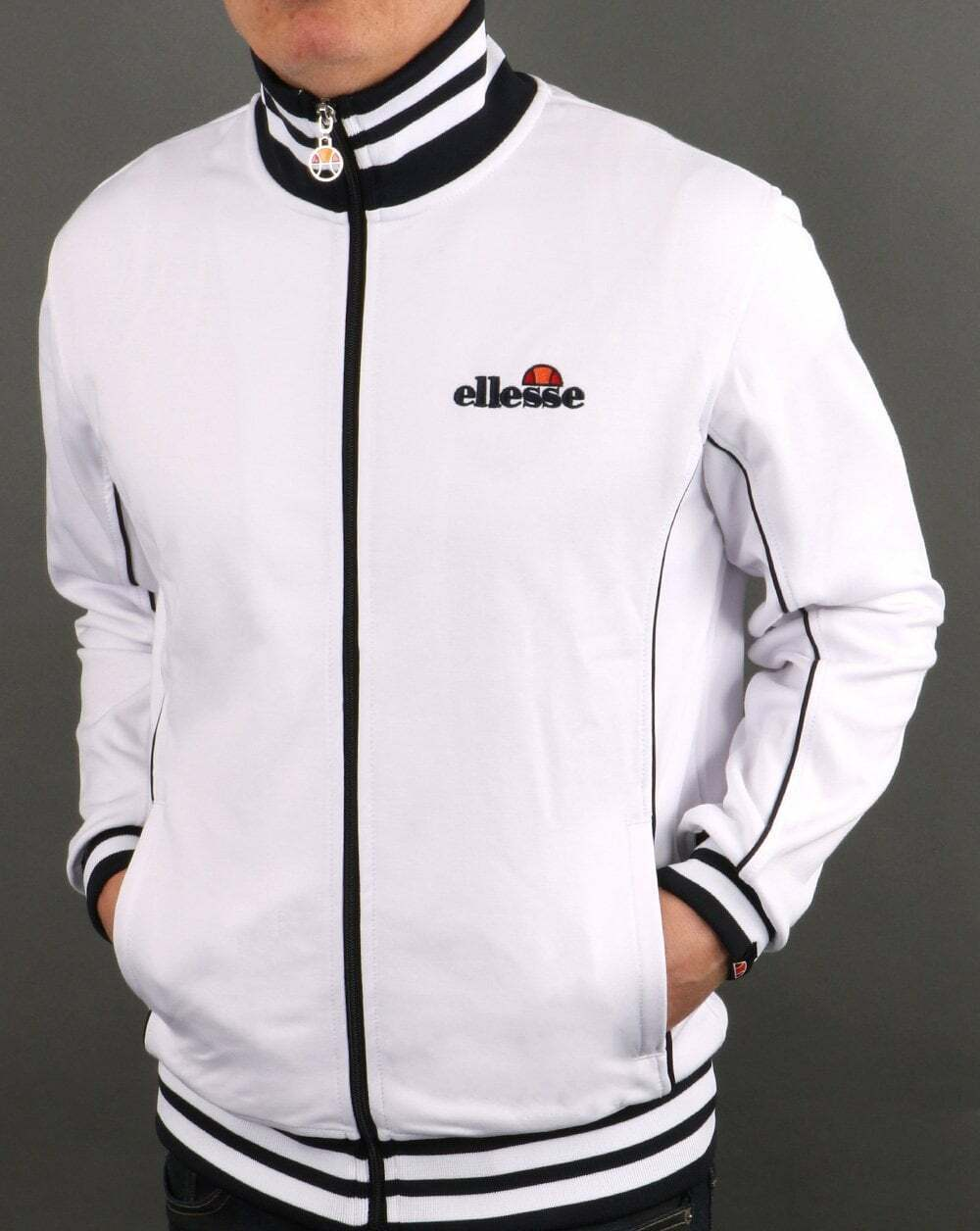 Ellesse Milano Track Top in White - retro tracksuit jacket SALE