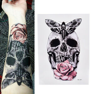 Skull-With-Moth-And-Flower-Tattoo-Waterproof-Temporary-Body-Tattoo-Sticker-RS