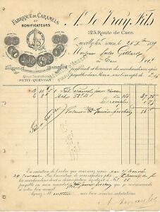QUEVILLY-LES-ROUEN-FACTURE-DE-1889-LEVRAY-FILS-FABRIQUE-DE-CARAMELS