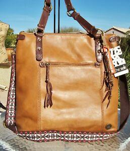 86c1afa4fe4 Details about The Sak Ashland Brown Leather Zip Top Tote Shopper Crossbody  Bag Purse NWT