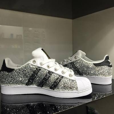 Adidas Superstar personalizzate con tessuto glitter argento e occhielli handmade | eBay