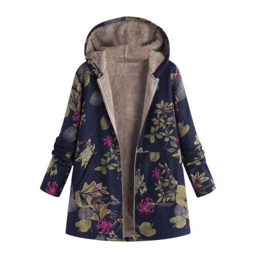 Donna INVERNO Caldo Capispalla floreale con cappuccio cappotti spessi VINTAGE OVERSIZE