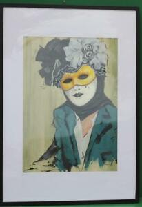 KATRINA-JONES-ART-PAINTING-LARGE-MASK-GREEN-ACRYLIC-ON-PAPER-73cm-x-103cm