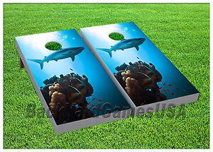 CORNHOLE-BEANBAG-TOSS-GAME-Ocean-Blue-Shark-w-Bags-Game-Boards-Set-1046