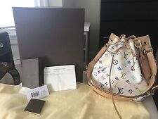 Auth Louis Vuitton Murakami Multicolor Monogram Petit Noe White Full Set!