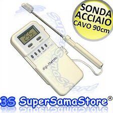 3S NUOVO TERMOMETRO DIGITALE LCD con SONDA IN ACCIAIO INOX e CAVO 90 cm