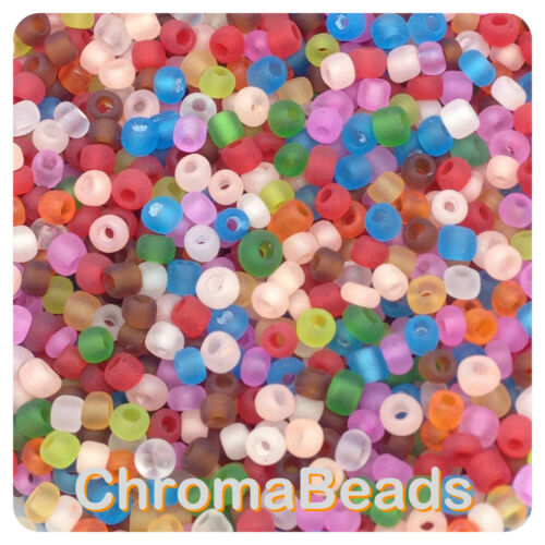 couleur mix 50g Verre Seed Perles-Mixte givré-env 3mm Craft Taille 8//0