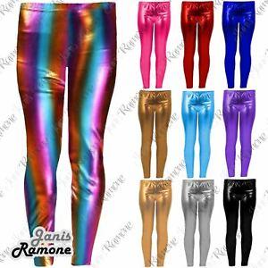 Girls Leggings Wet Look Shiny Metallic Foil Leggings Adult Sizes Available