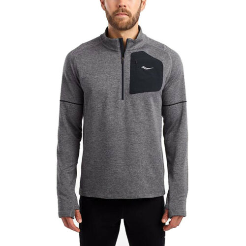 Saucony Mens Runstrong Thermal LS Running Top Grey Sports Half Zip Reflective