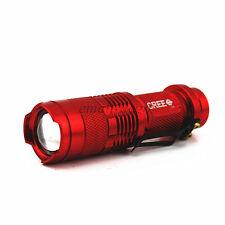Mini 7W300LM Red CREE Q5 LED Flashlight Torch Adjustable Focus Zoom LightLamp