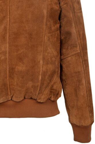 Men/'s Retro Suede Leather Bomber TAN Classic Style 80/'S Italian Leather New