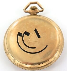 UNUSUAL MODERNIST ROLLED GOLD CASE / VINTAGE SWISS MADE 15J POCKET WATCH.