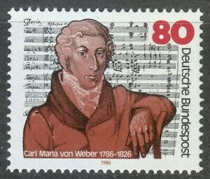 Germany-1986-MNH-Mi-1284-Sc-1463-Carl-Maria-von-Weber-German-composer-pianist