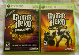 Guitar-Hero-Smash-Hits-amp-World-Tour-Lot-Xbox-360-Complete-FREE-SHIP
