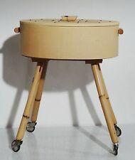 mid century design sewing box - Nähkasten Utensilienbox Nähkästchen Bambus Beine