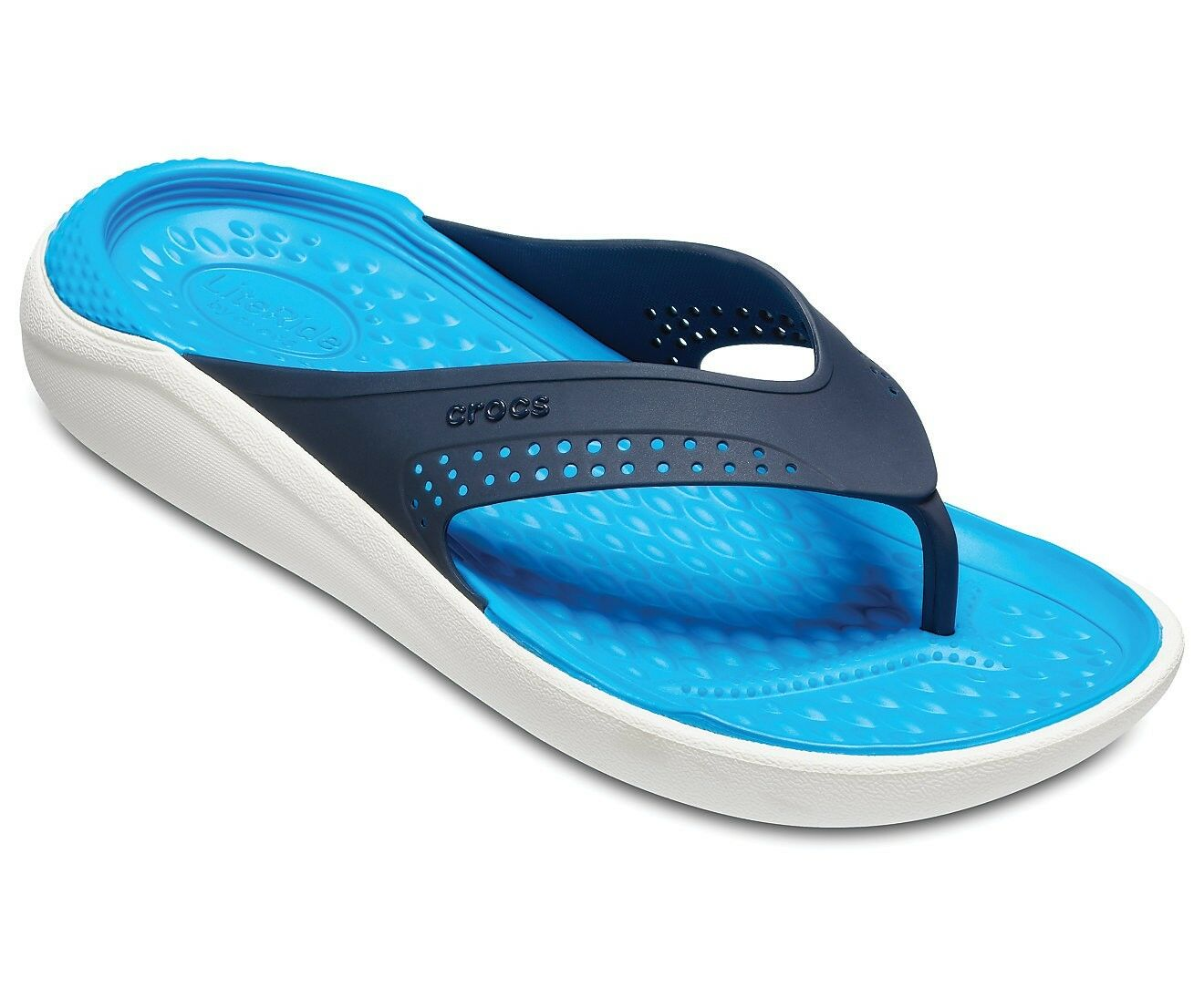 Crocs LiteRide Flip Flop Sandal 205182-462 Navy White 100% Authentic Lite RIde