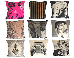 Cushion-Covers-18-034-Large-Vintage-Marilyn-Car-Camera-Elephant-Chandelier-Floral